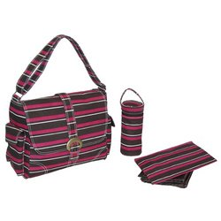 Canvas Buckle Bag - Canvas Canal Street Stripes - Burgundy