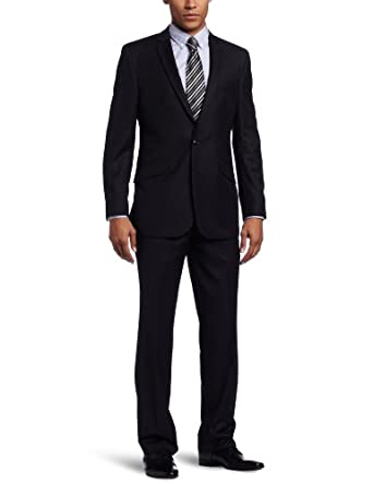 Kenneth Cole REACTION Men's 2 Piece Suit, Dark Blue, 42 Long