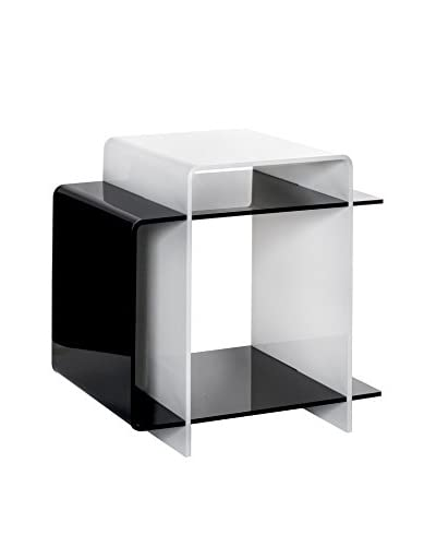 Iplex Design Mesa Decorativa 70'S Blanco/Negro
