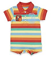 Pure Cotton Collared Striped All-In-One