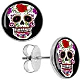 White Sugar Skull Stud Earrings