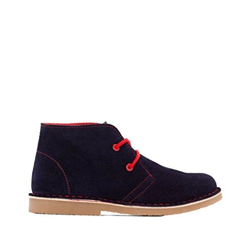 R Essentiel Bambino Boots Pelle Scamosciata Con Lacci Colorati Taglia 29 Blu