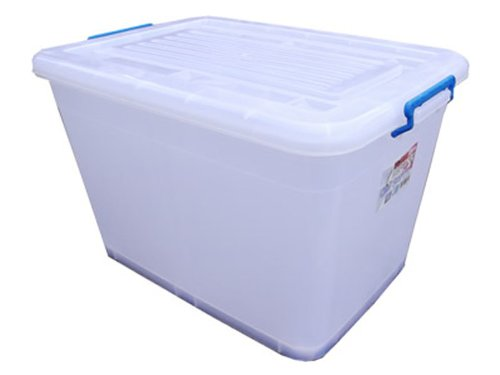 2x 90L Extra Large Plastic Storage Big Box 90 LTR (Litre) with Wheels & Clip Lids