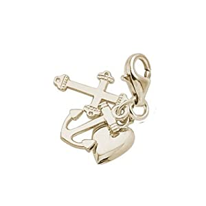 14K Yellow Gold Faithhopecharity Charm With Lobster Claw Clasp, Charms for Bracelets and Necklaces