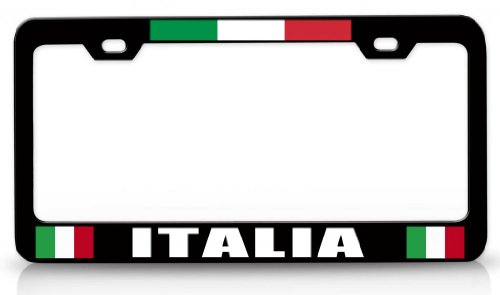 ITALIA Italian Flag Steel Metal License Plate Frame Bl # 37 (Frames Italian compare prices)
