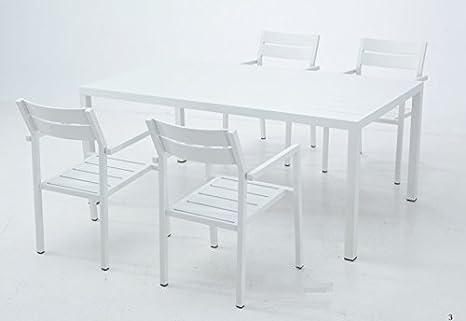 Silla terraza lamas aluminio blanco Bora