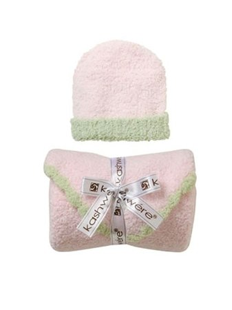 Kashwere Baby Set: Blanket & Cap - Pink w/Green Trim - 1