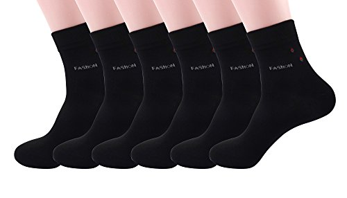Silkworld Men'S Bamboo Fiber Business Dress Socks Pack Of 6 Black