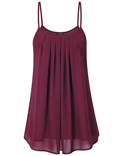 Laksmi Women's Summer Casual Front Pleat Cool Tank Top (Medium, Wine) (Fancy Women Tops compare prices)