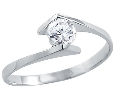 Size- 13 - Solid 14k White Gold Ladies Solitaire CZ Cubic Zirconia Engagement Ring Round Cut 0.5 ct