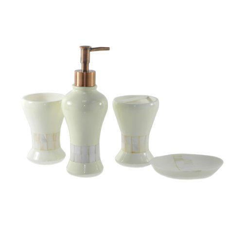 Dream Bath Athena Bath Ensemble 4 Piece Bathroom Accessories Set Luxury Bath Accessory White Bath Set Soap Dispenser/Toothbrush Holder/Tumbler/Soap Dish