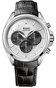 Hugo Boss 1512880 46 mm de acero inoxidable de color negro y funda de cuero de los hombres de la fábrica de relojes