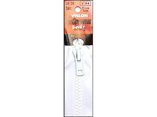 "YKK Vislon 1-Way Separating Zipper, 18"", White"