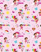 Dora The Explorer - Giftwrap (2 sheets folded) and tags (2)