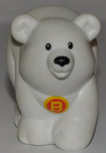 "Little People Polar Bear ""B"" on Chest (2004) - Replacement Figure Accessory - Classic Fisher Price Collectible Figures - Loose Out Of Package & Print (OOP) - Zoo Circus Ark Pet Castle - 1"
