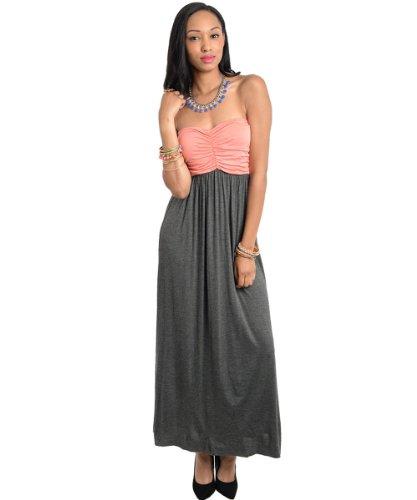 Stanzino Women'S Strapless Colorblock Maxi Dress