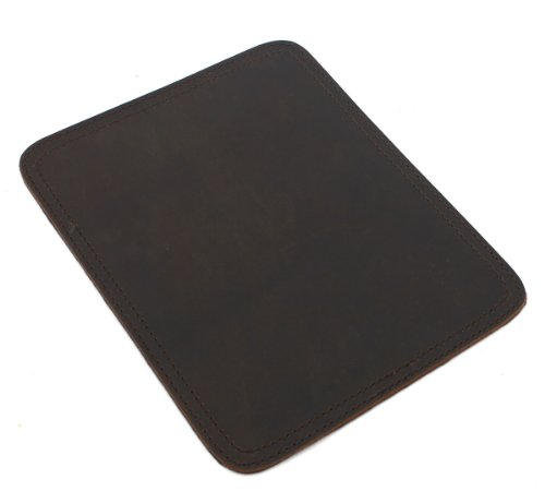 Vagabond Traveler Cowhide Full Leather Stationary Mouse Pad Collection L743. Dk Brn