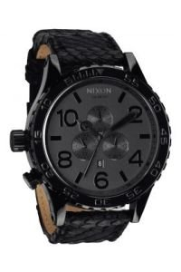 Nixon The 51-30 Chrono Leather Watch in Black Snake