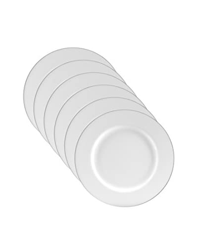 10 Strawberry Street Set of 6 Silver-Line Charger Plates, White/Silver