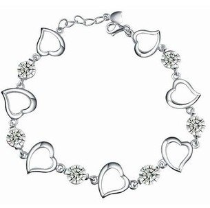 Rhodium Plated Silver Diamond Accent Love Heart And CZ Bracelet