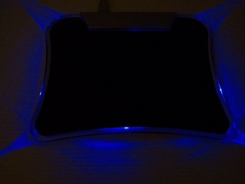 Blue Light Led Lighted Mouse Pad With 4 Port High Speed Usb 2.0 Hub.