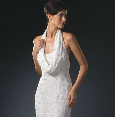 Ivory Cowl Evening Dress - Bridal Wedding Formal Party (8308)
