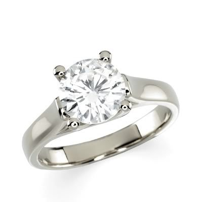 Gorgeous! Women'S 14K White-Gold 7.50Mm (1 1/2Ct) Moissanite Solitaire Engagement Ring