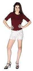 La Vida Women's Cotton Shorts (SS15ST3003LAWHM_White Pink Green_Medium)