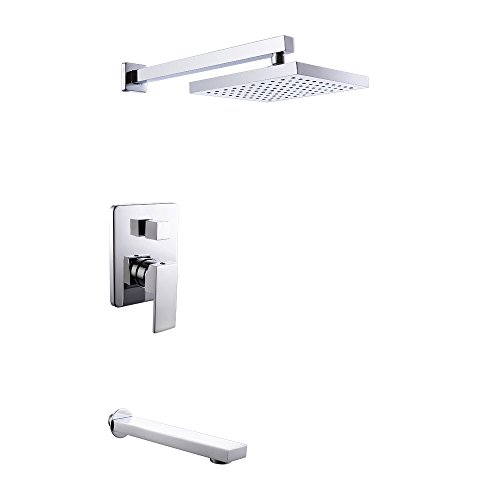 KES X6221 Bathroom Single Handle Shower Faucet Trim Valve Body Tub Spout Complete Kit Modern Square, Polished Chrome (Tub Spout And Handles compare prices)