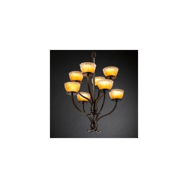 Justice Design GLA 8788 16 WHTW DBRZ Sonoma   Eight Light Two Tier Chandelier, Glass Options WHTW Whitewash Glass Shade, Choose Finish Dark Bronze Finish, Choose Lamping Option Standard Lamping