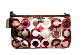 Coach Madison Signature Graphic Optic Art Capacity Wristlet Wallet 48679 Red Multi front-405203