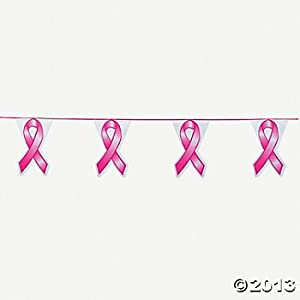 100 Feet Plastic PINK RIBBON Pennant Banner/BREAST CANCER Awareness/Fund Raiser/Event Supplies from Fun Express