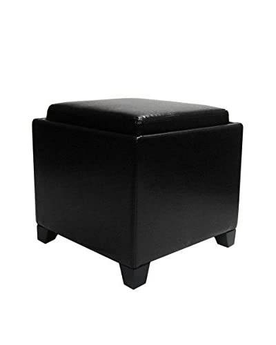 Armen Living Contemporary Storage Ottoman with Tray, Black