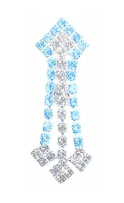 Aqua Lt Blue & Clear Cz Sexy 3 Dangle Shield Reverse Top Mount Belly Button Navel Piercing Bar Body Jewelry Ring 14G