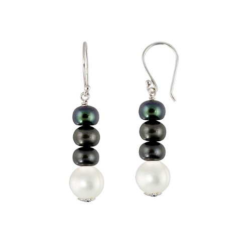Freshwater Cultured Peacock Black and White Pearl Sterling Silver Dangle Earrings (6-8mm )