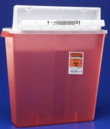 Covidien 85412800 Multi-purpose Sharps Container Sharpstar In-room 1-piece 18.5h X 16.5w X 6d Inch 4 Gallon Translucent Red Base Horizontal Entry Lid 8541sa Box Of 10