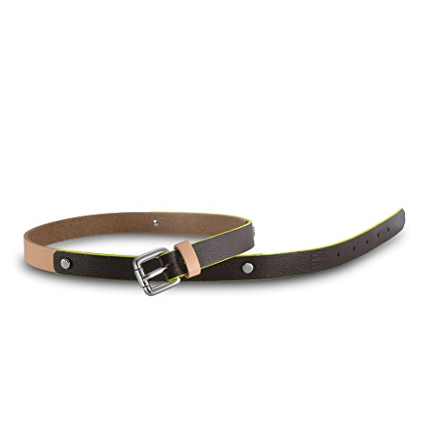 Cintura donna in pelle Saffiano Made in Italy con borchie DUDU Marrone scuro