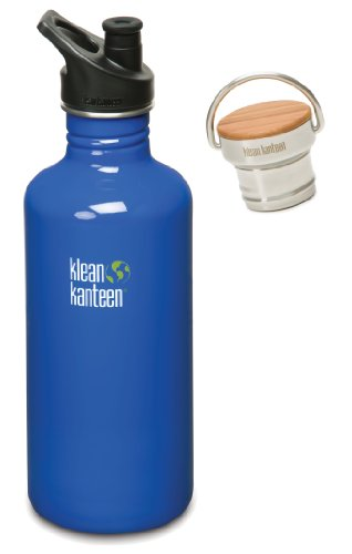 Klean Kanteen 40 Oz Stainless Steel Water Bottle With 2 Caps (Stainless Unibody Bamboo Cap And Sport Cap 3.0 In Black) - Ocean Blue front-1019880