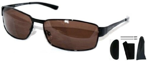 Men's Driving Polarised Sunglasses - Men's B52's Sunglasses with Black Frames & Brown Lenses Complete with Hard 'Influx' Car Case, Cloth, Drawstring Pouch & Cord