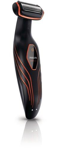 Philips BodyGroom BG2026/15 - Afeitadora corporal inalámbrica, uso en seco y húmedo, con 3 peines guía y base de carga, negro y naranja