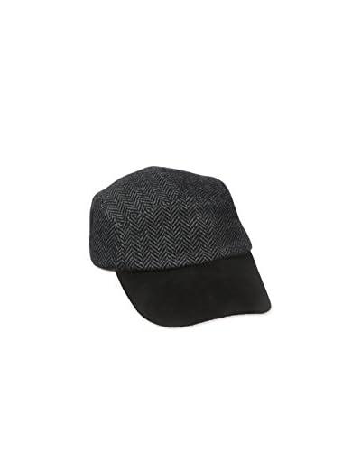 Amicale Men's 5 Panel H Bone Base Ball Cap with Suede Visor, Black/Grey