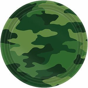 "Amscan Adventurous Camouflage Dessert Plates Birthday Party Supplies, 7"", Camouflage Green - 1"