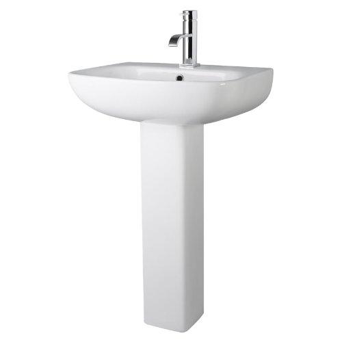 Saxon 545mm Modern Square Basin Sink and Full Pedestal Gloss White Bathroom Pottery