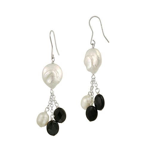 Sterling Silver Freshwater Cultured Pearl and Onyx French Wire Earrings