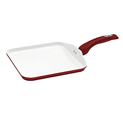 Bialetti Aeternum Red 7198 Square Griddle, 10-inch