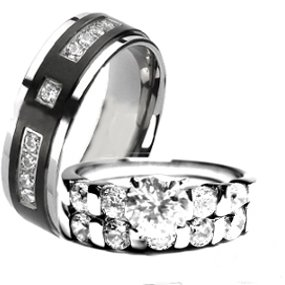 His & Hers 3 Pieces, TITANIUM and STAINLESS STEEL Engagement Wedding Ring Set, AVAILABLE SIZES men's 7,8,9,10,11,12; women's set: 5,6,7,8,9. CONTACT US BY EMAIL THROUGH AMAZON WITH SIZES AFTER PURCHASE!