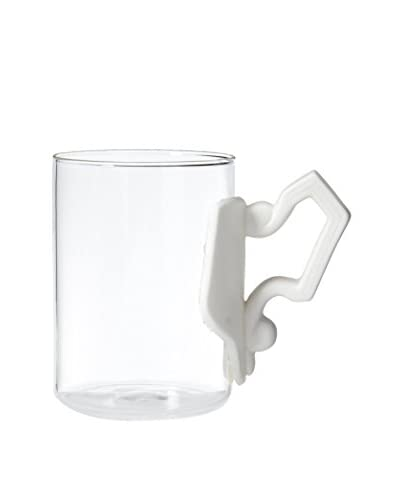 Seletti Era Glass Mug with Porcelain Handle, Clear/White