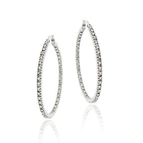 Sterling Silver Diamond Accent 35mm Inside Out Hoop Earrings