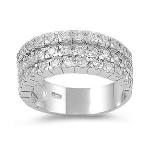 925 Sterling Silver Eternity Ring with CZ Stones - Size 9
