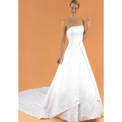 David's Bridal Sleeveless, Satin, A-Line Wedding Gown